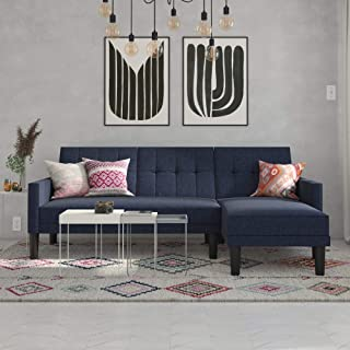 DHP Haven Small Space Sectional Futon Sofa, Blue Linen