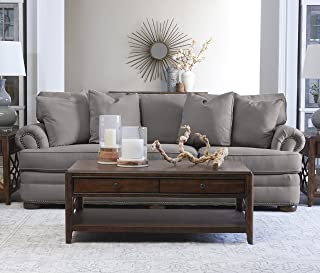 """Klaussner Home Furnishings Tilden Sofa with 4 Throw Pillows, 45""""L x 97""""W x 37""""H, Dove"""