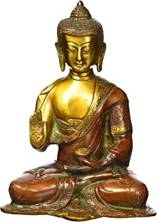 "8"" Rare Amulet Buddha Large Statue, Buddhism Tibet Tibetan Chinese Brass Carved Figurine Sculpture Thai Decor Happy Antiqu..."