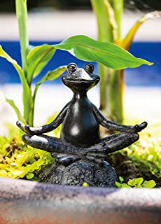 "Evergreen Garden New Creative Sitting Yoga Frog Polystone Outdoor Statue - 6.75""W x 3.25""D x 7""H"