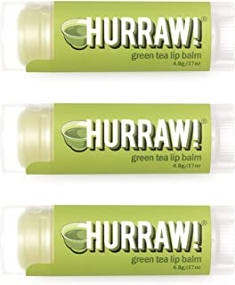 Hurraw! Green Tea Lip Balm, 3 Pack: Organic, Certified Vegan, Cruelty and Gluten Free. Non-GMO, 100% Natural Ingredients. ...