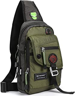 Nicgid Sling Bag Chest Shoulder Backpack Crossbody Bags for iPad Tablet Outdoor Hiking Men Women Green Army greeen(Fits iPad) Medium