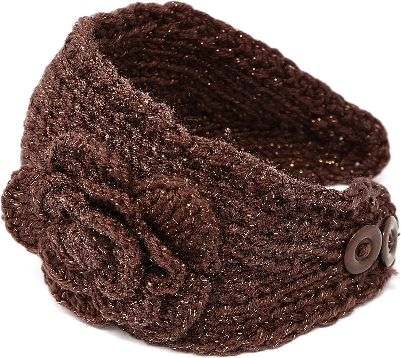Brown KMystic Knit Winter Headband Ear Warmer with Sparkles