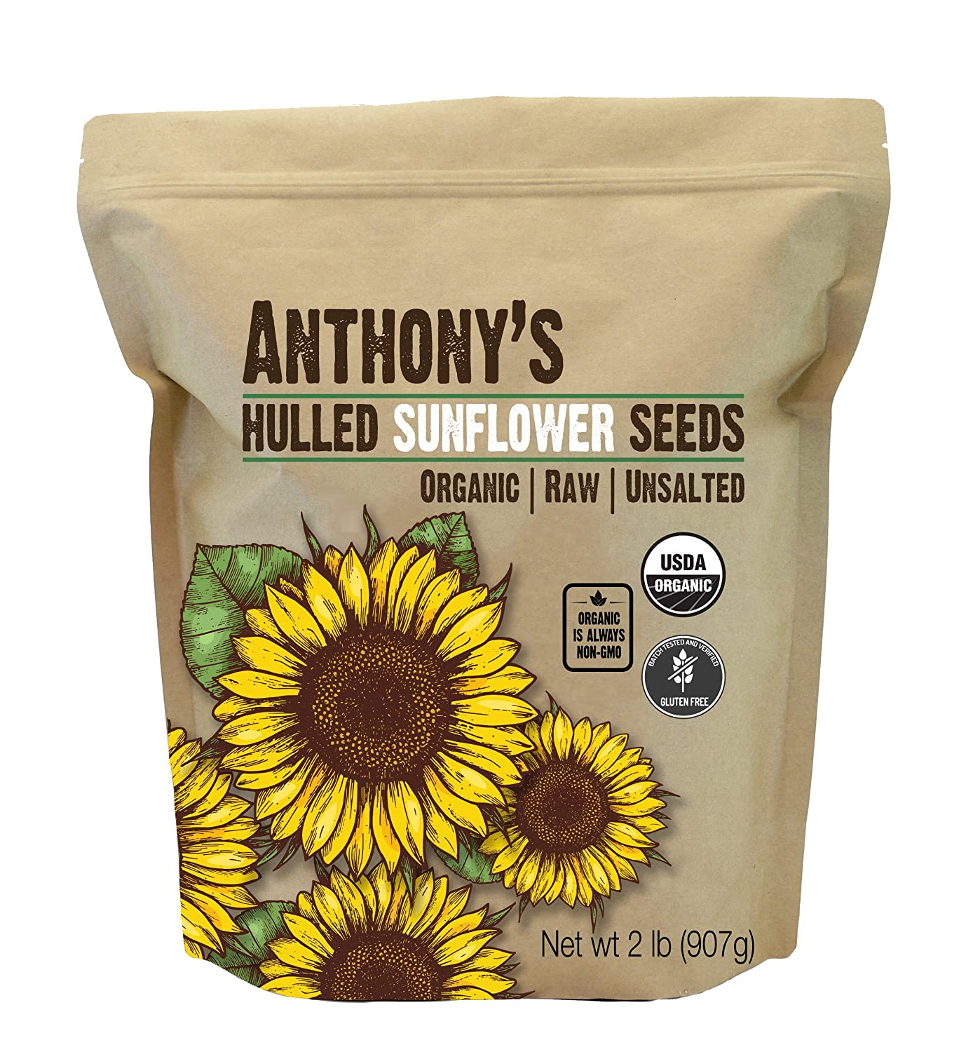 Anthony's Organic Hulled Sunflower New sales Seeds Unsalted Max 68% OFF lb Raw B 2