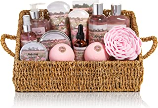 Bath Spa Gift Sets - Luxury Basket With Rose Oil & Peony - Spa Kit Includes Wash, Bubble Bath, Lotion, Bath Salts, Body Scrub, Body Spray, Shower Puff, Bathbombs, Soap and Towel, Large