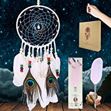Royal Bud Dream Catchers + Feather Pen + Gift Bag = White Native American Dream Catcher for Bedroom,Peacock Feathers Art Decor,Talisman Stone and Beads with Handmade Web Net,Wall Hanging Decoration