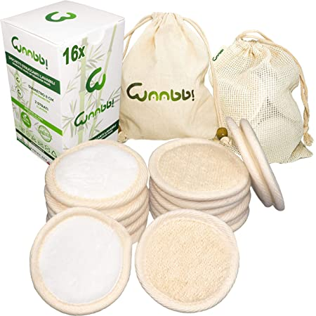 Dischetti Struccanti Lavabili Bambù Riutilizzabili 16 Pezzi Salviette Struccante Fibra Bamboo Cotone Pulizia Viso Scrub Spugnette Make Up Zero Waste