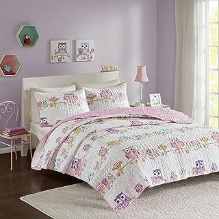 Comfort Spaces Howdy Hoots 3 Piece Quilt Coverlet Bedspread Owl Print Ultra Soft Hypoallergenic Kids Teens Girls Bedding Set, Full/Queen, Pink/White