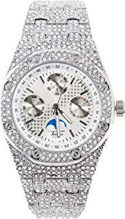 Bling-ed Out Men's Silver CZ Watch with Simulated Chronograph Dial   Japan Movement   Simulated Lab Diamonds