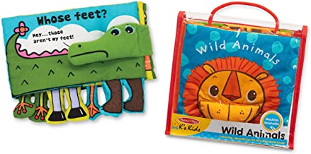 Melissa & Doug K's Kids Soft Activity Baby Book Set: Animals (Whose Feet? and Wild Animals)