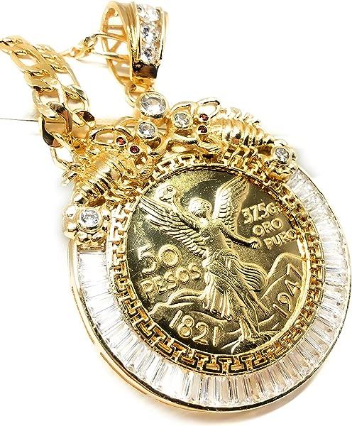 Fran Co Jewelry Gold Plated Coin Centenario Mexicano Moneda 50 Pesos Pendant Chain CZ Oro Cadena 26