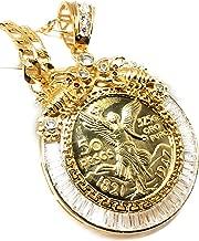 """Fran & Co. Jewelry Gold Plated Coin Centenario Mexicano Moneda 50 Pesos Pendant Chain CZ Oro Cadena 26"""""""
