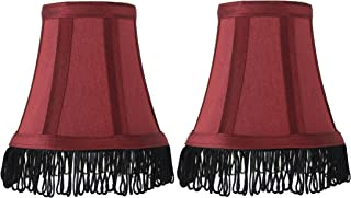 Urbanest Set of 2 Burgundy with Black Fringe Silk Bell Chandelier Lamp Shade, 3-inch by 5-inch by 4 1/2-inch, Clip-on