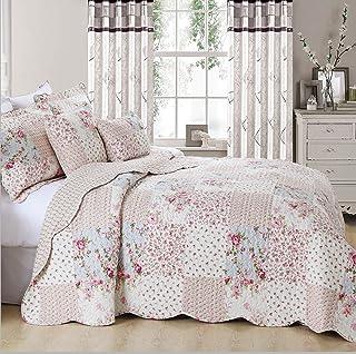 Colcha vintage con diseño de patchwork floral, colcha con 2 fundas de almohadas, diseño de pradera, 100% algodón, matrimonio