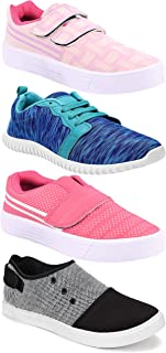 Camfoot Women's (5050-9030-9031-1162) Multicolor Casual Sports Running Shoes (Set of 4 Pair)