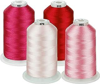 Simthread Maschinenstickgarn 5000M Spulen Set Polyester Stickgarn für Brother, Babylock, Janome, Kenmore, Singer, W6 N Stickereimaschine 4 Rosa