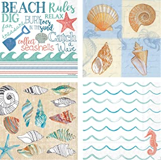 Beach Seashells Cocktail Beverage Paper Napkins Variety Pack 20 Count 3-Ply Set Of 4 Different Designs