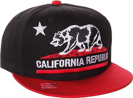 California Republic Unisex Flat Bill Visor Flag Bear Adjustable Plastic Snapback Hat Cap -