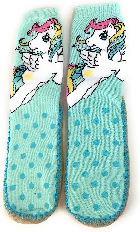 Pony My Little Slipper Socks Womens Gripper Sole Aqua (S M 5 7.5)