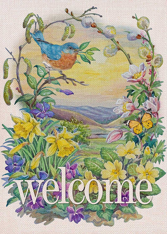 Furiaz Max 70% OFF Welcome Spring Summer Garden Flag Blue La Bird Home Yard Soldering