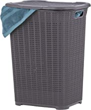 Superio Laundry Hamper Knit Style Basket With Lid 50 Liter - Purple Color Modern Designed - Laundry Room Hamper Basket With Cutout Handles Large & Tall Shape Bin To Storage Dirty Cloths