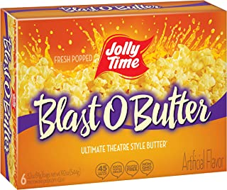 JOLLY TIME Blast O Butter | Ultimate Movie Theater Style Microwave Popcorn with Extra Buttery Flavor, Palm Oil, Salt and Non-GMO Kernels (6-Count Boxes, Pack of 6)