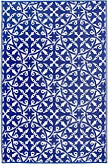 Fab Habitat Reversible, Indoor/ Outdoor Weather Resistant Floor Mat/Rug - San Juan - Dark Blue (3' x 5')