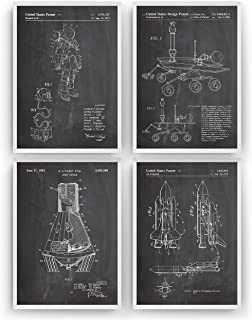 Outer Space Patent Print - Set Of 4 - Nasa Science Poster Gift Astronaut Vintage Blueprint Spaceship Aerospace Wall Art Bedroom Fan Decor Merchandise Rocket - Frame Not Included