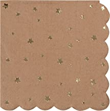 Cocktail Napkins - 50-Pack Disposable Kraft Paper Napkins, Rustic Holiday, Wedding, Birthday Party Supplies, Metallic Gold Foil Stars and Scalloped Edge Design, 3-Ply, Brown, Folded 4.8 x 4.7 Inches