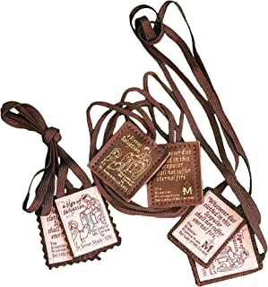 Brown Scapular Favorites | Official Our Lady of Mount Carmel Scapulars | Traditional Wool Leather Carmelite Escapularios