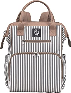 Rascal Gear Striped Baby Diaper Bag Backpack, Tote, Shoulder or Cross Body with Insulated Bottle Pockets, Stroller Straps & Changing Pad; Machine Washable; Waterproof; Multipurpose;