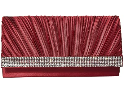 Jessica McClintock Chloe Pleated Satin Clutch (Wine) Clutch Handbags