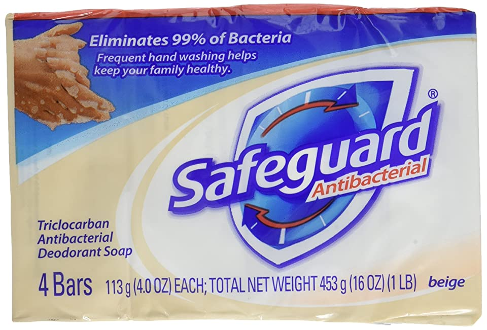 不透明なキャリア海Safeguard antibacterial deodorant bar soap, Beige - 4 Oz, 4 ea by Safeguard