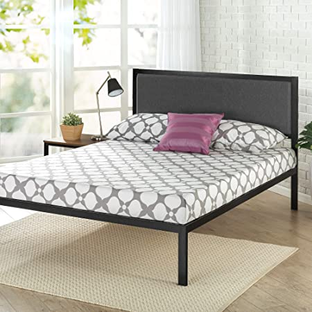 "Zinus Korey 14"" Steel Platform Bed Frame with Upholstered Headboard and Wood Slat Support, Queen"