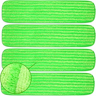 Microfiber Mop Pads 4 Pack - Reusable Washable Cloth Mop Head Replacements Best Thick Spray Wet Dust Dry Flat Velcro Attac...
