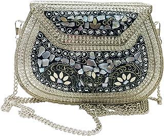 Trend Overseas Ethnic Clutch Girls women gift metal bag metal clutch Vintage Handmade Bags Mosaic stone Bag detachable met...