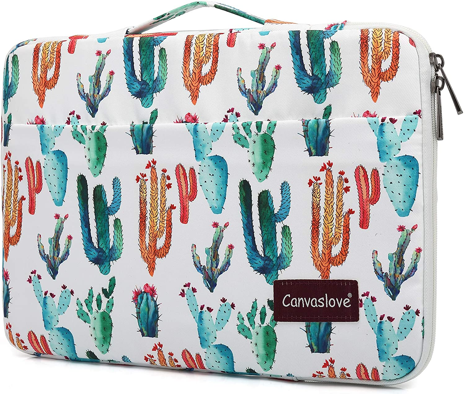 Canvaslove Cactus Waterproof Corner and Bottom Rebound Bubble Cushioned Laptop Sleeve Case with Handle and Pockets for 14 inch Laptop
