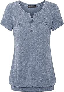 Women's Henley V Neck Pleated Button Details Banded Hem Blouse Top