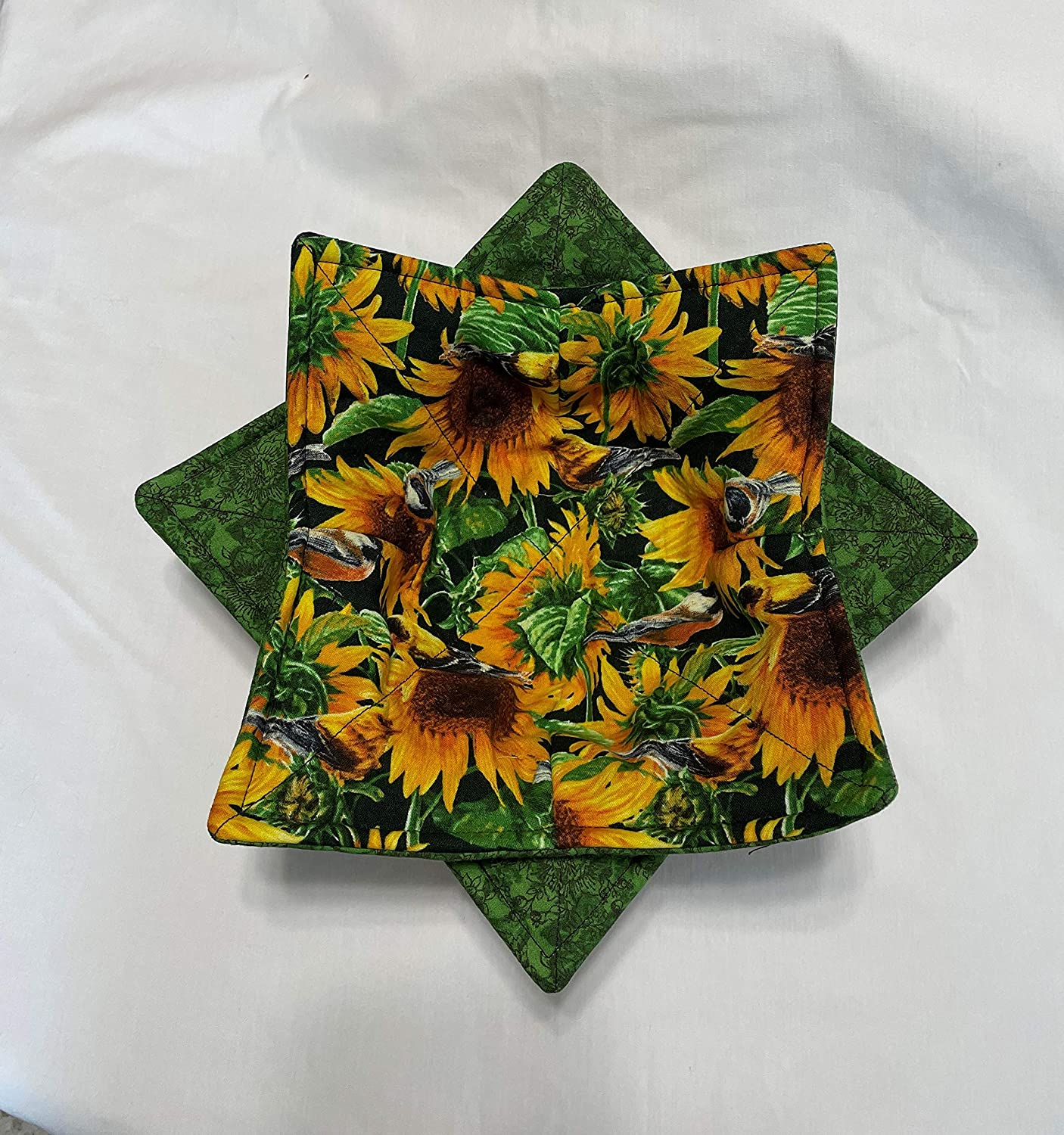 Fresno Mall Bowl Cozy for microwave Sunflower back reversible Topics on TV and green