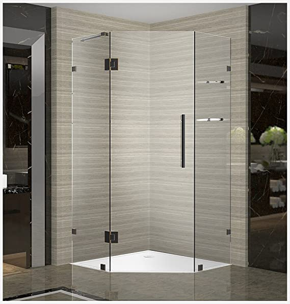 Aston Sen991 Ch 38 10 Neoscape Gs Completely Frameless Neo Angle Shower Enclosure With Glass Shelves 38 X 38 X 72 Polished Chrome