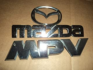 00-03 Mazda MPV Tailgate Chrome Nameplate LC63 51 710 Used Emblem LC63 51 720 Script LC62-51 730 Ornament Set of 3 Decals Logos