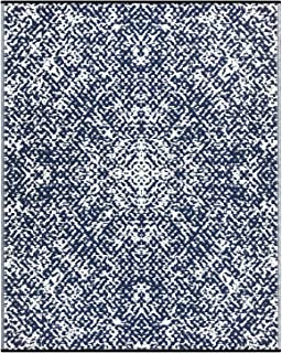 Lightweight Outdoor Reversible Plastic Rug (8x10, Rio Dark Blue/White)
