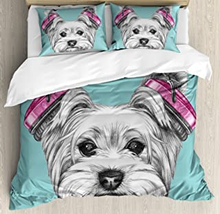 Ambesonne Yorkie Duvet Cover Set, Dog with Headphones Music Listening Yorkshire Terrier Hand Drawn Caricature, Decorative 3 Piece Bedding Set with 2 Pillow Shams, Queen Size, Blue White