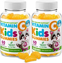 Vitamin C Gummies for Kids & Adults 240 mg - Immune Support Low-Sugar Chewable Gummy Vitamins for Toddlers - Vegetarian Ge...