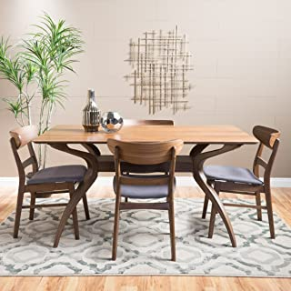 Christopher Knight Home Isador Mid-Century Design Natural Walnut Finish 5 Piece Dining Set (Dark Grey)