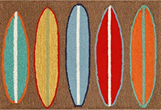 Liora Manne 1406/19 Front Porch Coastal Beach Surfboards Brown Indoor/Outdoor Rug, 2'6