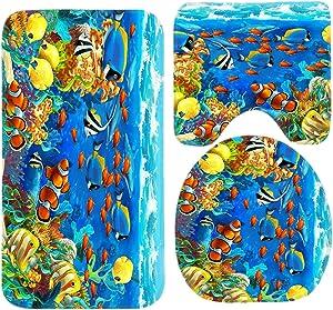 R-ANSXYX Toilet Set Ocean Tropical Fish Coral Undersea World Fish 3 Piece Bathroom Set Mat Rug Non-Slip Contour Rug Toilet Lid Cover and Bath Mat