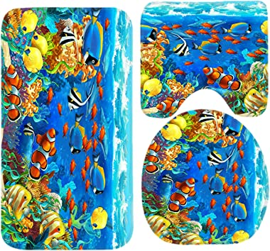 R-ANSXYX Toilet Set Ocean Tropical Fish Coral Undersea World Fish 3 Piece Bathroom Set Mat Rug Non-Slip Contour Rug Toilet Lid Cover and Bath Mat