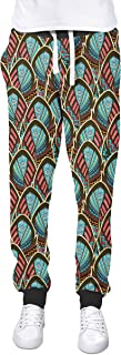 Rainbow Rules Peacock Feathers Cuffed Joggers Sweatpants Jogging Bottoms