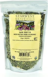 Starwest Botanicals Organic Wood Betony Herb C/S, 4 Ounces